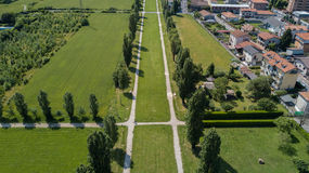 Garden and park, fountain, villa Bagatti Valsecchi, villa, aerial view, eighteenth century, italian villa Royalty Free Stock Photography
