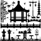 Garden Park Outdoor Recreational. A set of Asian garden scenery Royalty Free Stock Photos