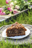 Garden party. Chocolate cake on wicker tray Royalty Free Stock Photo