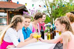 Garden party for family and neighbors Royalty Free Stock Images