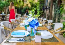 Garden party. Filled table as a garden party background Royalty Free Stock Photos