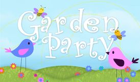Garden Party Invitation Art with Birds and Bees Illustration. Colorful outdoor backyard picnic food stock illustration