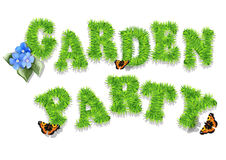 Garden party. Invitation with grass and butterfly Royalty Free Stock Photography