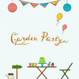 Garden party line icon set. Vector illustration. Outdoor happy holidays Stock Images