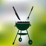 Garden party meat grill with food on abstract green background eps10 Royalty Free Stock Photo