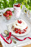 Garden party: meringue with strawberries Stock Image
