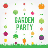 Garden party poster with vegetables icons set Stock Photography