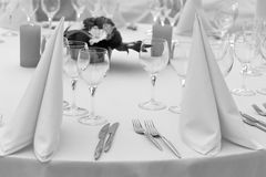 Garden party table. Black and White catering round table stock photography