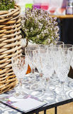 Garden party wineglasses Stock Photos