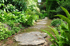 Garden Path. Stepping Stone Path in a Beautiful Green Garden Stock Photo