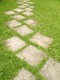 Garden path. A stone pathway on a garden lawn stock photos