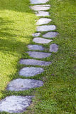 Garden path. Garden stone path with green grass - detail Royalty Free Stock Image