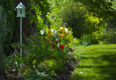 Garden Path. Landscape garden in summer. A bird house is visible in the foreground royalty free stock image