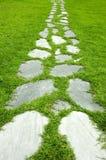 Garden path. Garden stone path with grass growing up between the stones Stock Photos