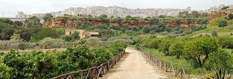 Garden and path at Agrigento Royalty Free Stock Photography