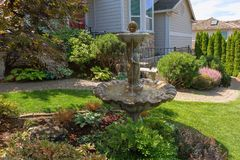 Garden Path Along House Manicured Frontyard Stock Image