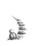 Garden path with Buddhist statue Japanese style sumi-e ink painting. Royalty Free Stock Image