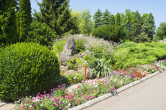 Garden path and flowerbed Royalty Free Stock Image