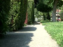 Garden path. Going on garden path on a sunny day stock video