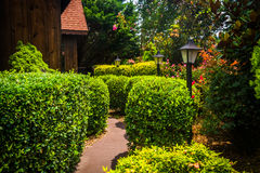 Garden and path in Helen, Georgia. Royalty Free Stock Image