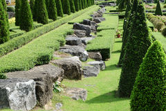 Garden path with topiary landscape Royalty Free Stock Photo