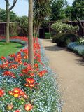 Garden path and tulips herbaceous border in a safari park, England Royalty Free Stock Image