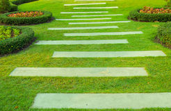 Garden pathway. The Pathway in green grass the garden Royalty Free Stock Photography