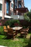 Garden Patio. Table setting in a backyard patio Stock Photo