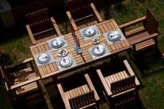 Garden Patio. Table setting in a backyard patio Stock Photos