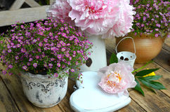 Garden patio table decoration Royalty Free Stock Image