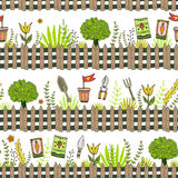 Garden pattern with seed packets, tools and tree. Vector seamless pattern of gardening tools Stock Images