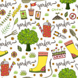 Garden pattern with seed packets, tools, tree and watering can. Vector seamless pattern of gardening tools Stock Image