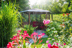 Garden pavilion. By the pond Royalty Free Stock Image
