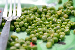 Garden peas on dinner plate. Garden peas left on dinner plate with knife and fork Stock Images