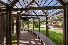 Garden pergola walk path Stock Images