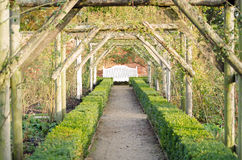 Garden perspective with bench Stock Images