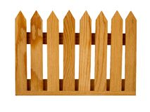 Garden picket fence panel, isolated. Wooden panel for garden fence - untreated wood. Isolated royalty free stock image