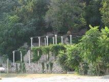 garden-pillars-facing-beach Stock Photo
