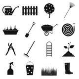 16 garden plain icons set. Black symbols on a white background Stock Illustration