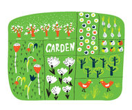 Garden plan with beds funny illustration Stock Photo