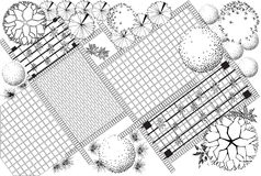 Garden plan black and white Stock Images