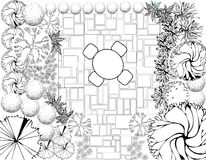 Garden plan black and white. Plan of Landscape and Garden Royalty Free Stock Images