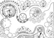 Garden plan black and white. Plan of Landscape and Garden royalty free illustration