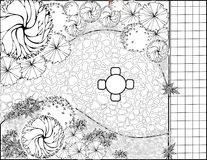 Garden plan black and white. Plan of Landscape and Garden Stock Photo