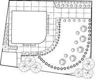 Garden plan black and white. Plan of Landscape and Garden Stock Photography