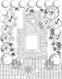 Garden plan black and white Royalty Free Stock Photos