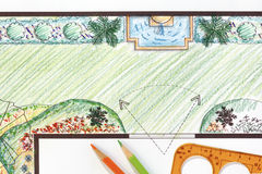 Garden plan with wall fountain. Royalty Free Stock Photography