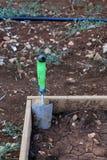 Garden planter and trowel Stock Photo
