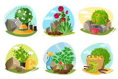 Garden plants and stones emblems set royalty free illustration