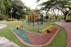 Garden Playground. A colourful children playground equipment Stock Photo
